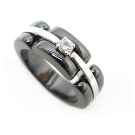 Chanel-NEW CHANEL ULTRA MM RING WHITE GOLD BLACK CERAMIC AND DIAMOND GOLD RING-Silvery