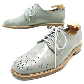 Heschung-HESCHUNG DERBY OPALYS FLORAL TOE SHOES 5 39 GRAY PATENT LEATHER SHOES-Grey