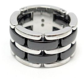 Chanel-CHANEL ULTRA GM J RING2641 taille 52 WHITE GOLD & CERAMIC WHITE GOLD RING-Silvery