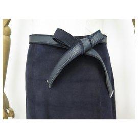 Louis Vuitton-JUPE LOUIS VUITTON TAILLE M 38 EN DAIM BLEU MARINE CUIR AGNEAU SUEDE SKIRT-Bleu Marine