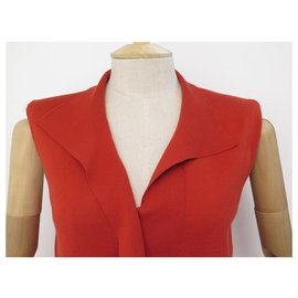 Hermès-HAUT HERMES SLEEVELESS T SHIRT M 38 RED COTTON COTTON TOP-Red