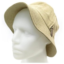 Hermès-NEW HERMES VENDOME HAT 57 051024N IN CREPE BEIGE NEW LINEN HAT-Beige