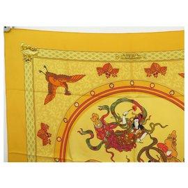 Hermès-HERMES NIKKO RYBALTCHENKO SQUARE SCARF 90 YELLOW SILK + SILK SCARF BOX-Yellow