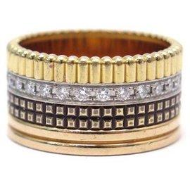 Boucheron-BOUCHERON RING FOUR CLASSIC LARGE JRG00623 T58 GOLD AND DIAMONDS + BOX-Golden