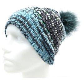 Missoni-NEW MISSONI HAT 55 CM IN BLUE WOOL POMPOM FOX FUR WOOL CAP-Blue