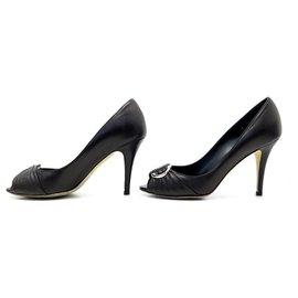 Dior-DIOR KATERINA PEEPTOE SHOES 36.5 BLACK LEATHER PUMPS + PUMP SHOES BOX-Black