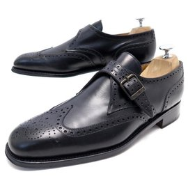 JM Weston-JM WESTON LOAFERS WITH BUCKLE 9C 43 BLACK LEATHER FLOWERED BUTTONS SHOES-Black