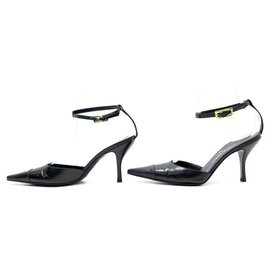 Chanel-Chanel used shoes 36.5 BLACK LEATHER & LIZARD BUCKLE PUMP SHOES-Black