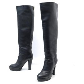 Chanel-CHANEL SHOES CC LOGO HEEL BOOTS 40 BLACK LEATHER HIGH BOOTS SHOES-Black