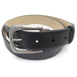 Chanel-NEW CHANEL BELT SIZE 95 IN BLACK LEATHER AND CHROME METAL LEATHER BELT-Black