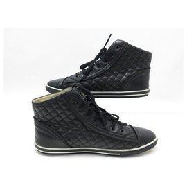 Chanel-CHANEL BASKETS G SHOES28569 40 QUILTED LEATHER CC LOGO SNEAKERS SHOES-Black