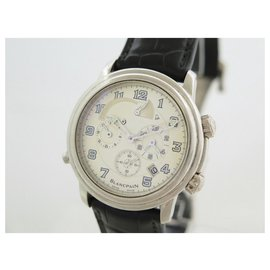 Blancpain-BLANCPAIN LEMAN REVEIL GMT WATCH 2041-1542M-53B AUTOMATIC GOLD WATCH-Silvery
