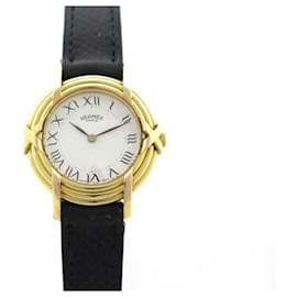 Hermès-HERMES RIBBON WATCH 26 MM QUARTZ YELLOW AND ROSE GOLD BLACK LEATHER + GOLDEN WATCH BOX-Golden