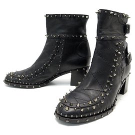 Laurence Dacade-LAURENCE DACADE SHOES STUDDED ANKLE BOOTS 40 BLACK LEATHER BOOTS SHOES-Black