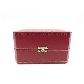 Cartier-CARTIER WATCH BOX + 3 CARTIER TANK LINKS IN STEEL PALLADIE WATCH BOX-Red