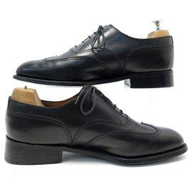 JM Weston-JM WESTON SHOES 676 7E 41 LARGE RICHELIEU IN BLACK LEATHER lined UPPER-Black