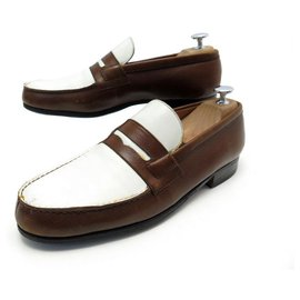 JM Weston-JM WESTON LOAFERS 180 6.5b 40 40.5 FINE TWO-TONE LEATHER SHOES-Other