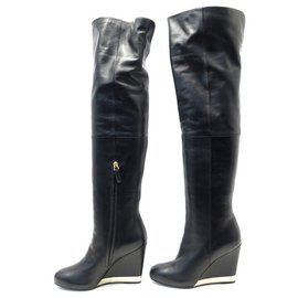 Chanel-NEW CHANEL G SHOES31303 37.5 LEATHER WEDGE BOOTS-Black