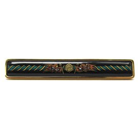Hermès-HERMES TIE CLIP IN GOLD PLATE AND BLACK ENAMEL GOLD PLATED & ENAMEL TIE CLIP-Golden