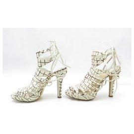 Christian Dior-NEW CHRISTIAN DIOR SANDALS HEEL SAFARI 40 CROCO SHOES LEATHER-Cream