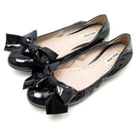 Miu Miu-NEW MIU MIU SHOES 35.5 BLACK PATENT LEATHER BALLERINAS + FLAT SHOES BOX-Black