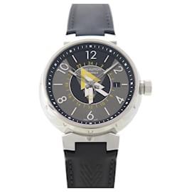 Louis Vuitton-NEW LOUIS VUITTON TAMBOUR WATCH VOLEZ VOGUEZ VOYAGEZ Q1D31 automatic-Black