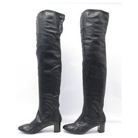 Chanel-NEW CHANEL BOOTS SHOES 39 BLACK PYTHON LEATHER BOOTS-Black