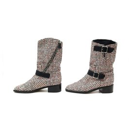 Chanel-CHANEL G SHOES27805 39.5 TRICOLOR TWEED BUCKLE BOOTS-Other