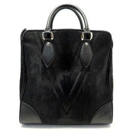 Louis Vuitton-SAC A MAIN LOUIS VUITTON WHISTLER M95247 VOLEZ VOGUEZ VOYAGEZ CUIR POULAIN-Noir