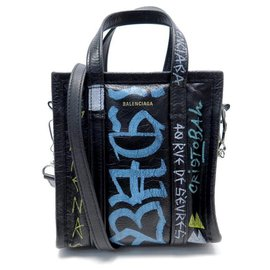 Balenciaga-NEUF SAC A MAIN BALENCIAGA BAZAR SHOPPER XXS GRAFFITI 513988 BANDOULIERE-Noir