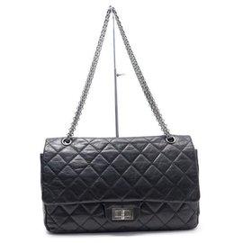 Chanel-Chanel handbag 2.55 MAXI JUMBO A37590 BLACK LEATHER STRAP + BOX-Black