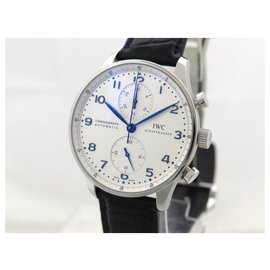 IWC-NEW IWC PORTUGUESE IW WATCH371446 automatic 40 MM CHRONOGRAPH + CASE-Silvery