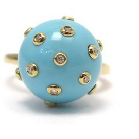 Victoria Casal-NEW VICTORIA CASAL TAC TAC T RING54 IN YELLOW GOLD DIAMONDS AND TURQUOISE-Golden