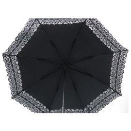 Chanel-NEW CHANEL UMBRELLA LACE BORDER BLACK COTTON OMBRELLE NEW BLACK UMBRELLA-Black