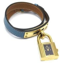 Hermès-Hermès watch kelly 20 MM QUARTZ lined TOUR BARENIA LEATHER BACKGROUND BLUE WATCH-Golden