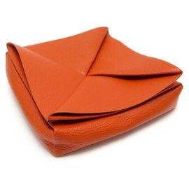 Hermès-NEW HERMES EMPTY POCKET FOR ZOULOU BOX IN GOAT LEATHER MYSORE ORANGE BOX-Orange