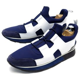 Hermès-NEW HERMES SNEAKERS PLAYER SHOES 39.5 BLUE CANVAS SNEAKERS WHITE LEATHER-Blue