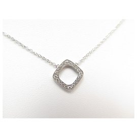 Dinh Van-NEW DINH VAN NECKLACE WITH WHITE GOLD PRINT 18K AND DIAMONDS + NECKLACE BOX-Silvery