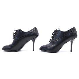 Louis Vuitton-LOUIS VUITTON SHOES 37.5 RICHELIEU A TALONS IN BLACK LEATHER PUMP SHOES-Black