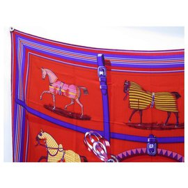 Hermès-CHALE HERMES BLANKETS AND D-DAY OUTFITS. EUDEL CASHMERE AND RED SILK-Red