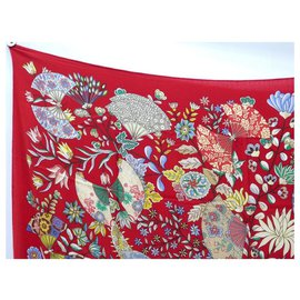 Hermès-CHALE HERMES FLOWERS AND BUTTERFLIES OF FABRICS C. HENRY CASHMERE AND SILK SHAWL-Red