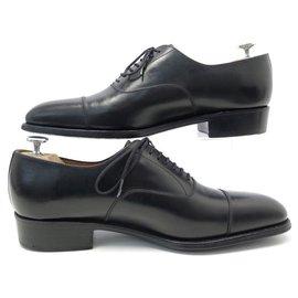 JM Weston-JM WESTON SAVILE SHOES 415 7D 41 Richelieu 7 BLACK LEATHER EYELETS SHOES-Black