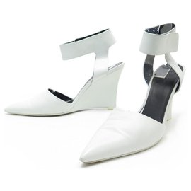 Céline-Celine shoes 39.5 WHITE LEATHER PUMP WEDGE PUMPS-White
