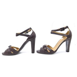 Hermès-Hermes shoes 36.5 BROWN LEATHER SANDALS WITH PUMP SHOES BOX-Brown