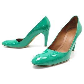 Céline-Celine shoes 39.5 GREEN LEATHER PUMP SHOES-Green