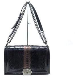 Chanel-NEW CHANEL BOY HANDBAG IN PATENT LEATHER & BLACK PYTHON HANDBAG-Black