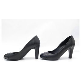 Chanel-CHANEL PUMPS G SHOES26460 37 IN CANVAS AND BLACK LEATHER + SHOES BOX-Black