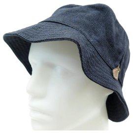 Hermès-NEW HERMES VENDOME T HAT55 BLUE LINEN NEW LINEN HAT LEATHER SPROCKET-Blue