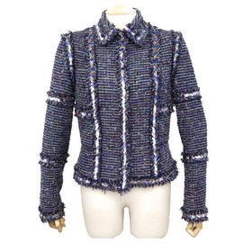 Chanel-VESTE CHANEL P26409 SEQUINS ETOILES M 38 EN TWEED LAINE BLEU WOOL JACKET-Bleu