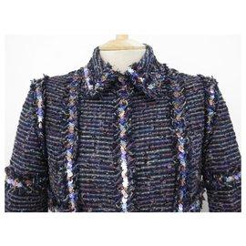 Chanel-CHANEL P JACKET26409 SEQUINS STARS M 38 IN BLUE WOOL TWEED WOOL JACKET-Blue